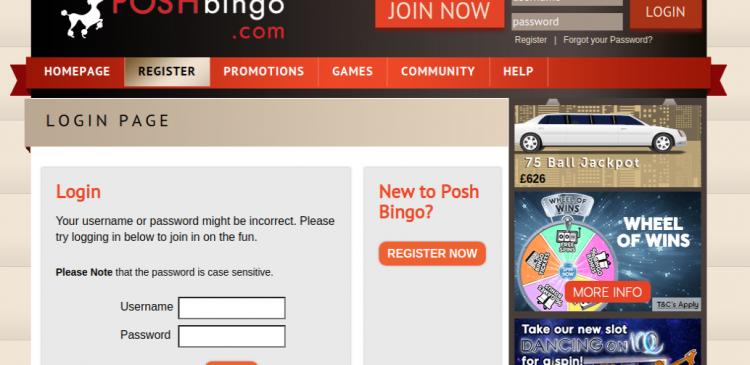 Posh Bingo Login