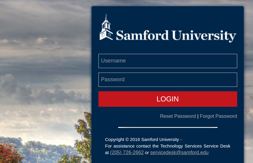 Samford University Secure Login