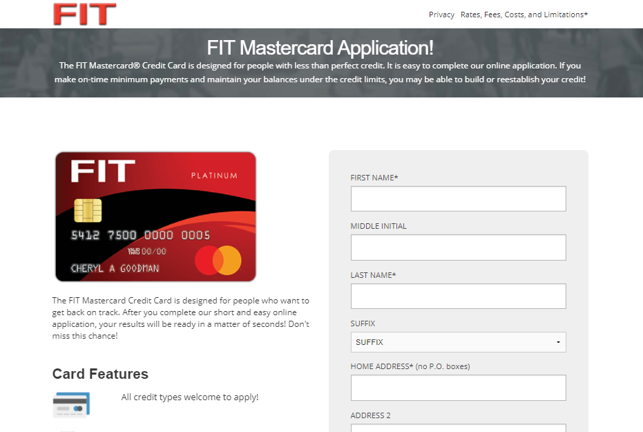 FIT Mastercard Apply
