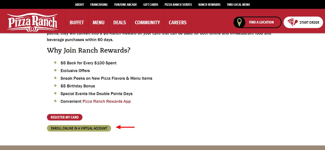 Ranch Rewards Pizza Ranch