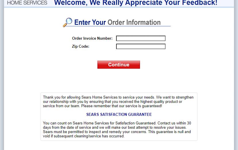 sears home services feedback survey